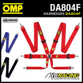 DA804F OMP 804F RACING HARNESS with LIGHTWEIGHT ADJUSTERS 6-POINT in 3 COLOURS