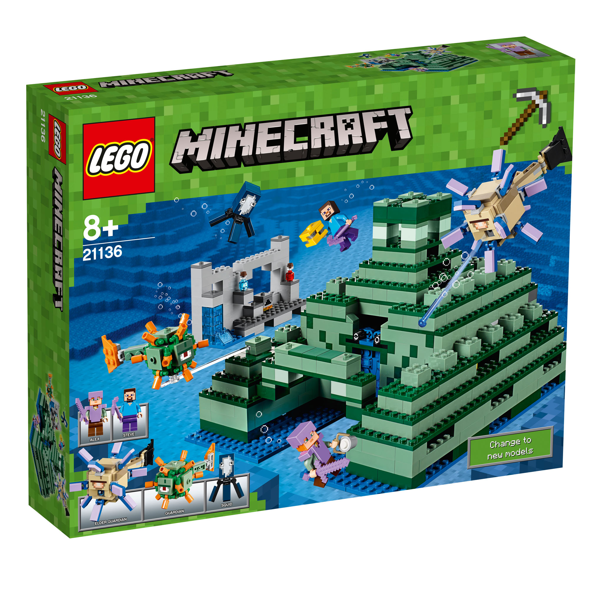 LEGO Baukästen & Sets 21136 LEGO Minecraft The Ocean Monument 1122 Pieces 8 Years New Release 2017!