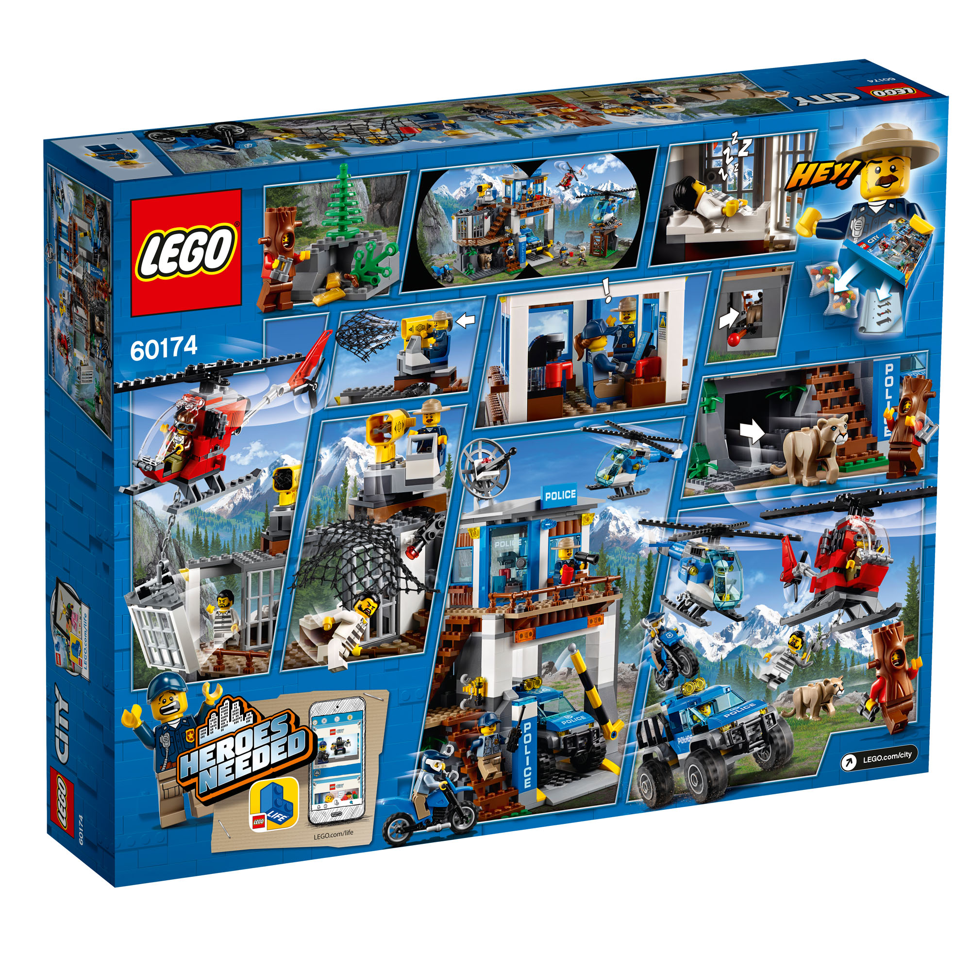 60174 lego city police mountain police headquarters 663 pieces age 6 new 2018 ebay. Black Bedroom Furniture Sets. Home Design Ideas