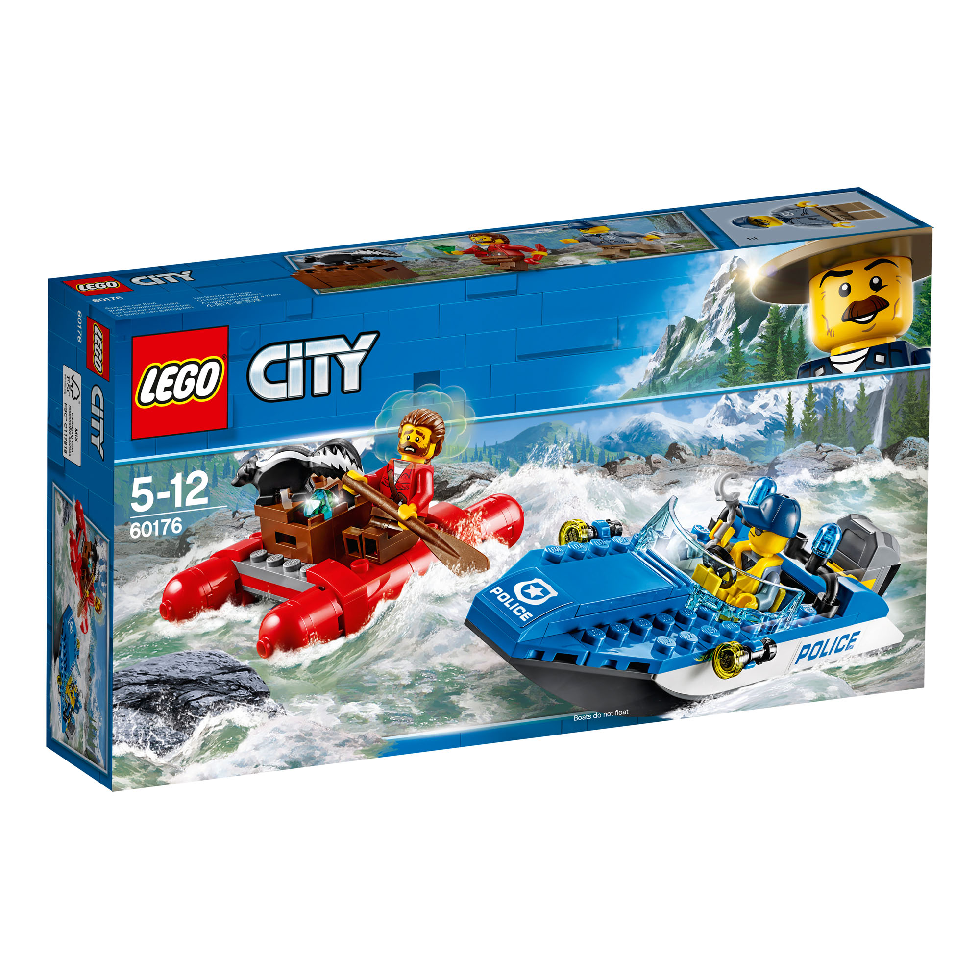 60176 lego city police wild river escape 126 pieces age 5 new release for 2018 - Lgo City Police