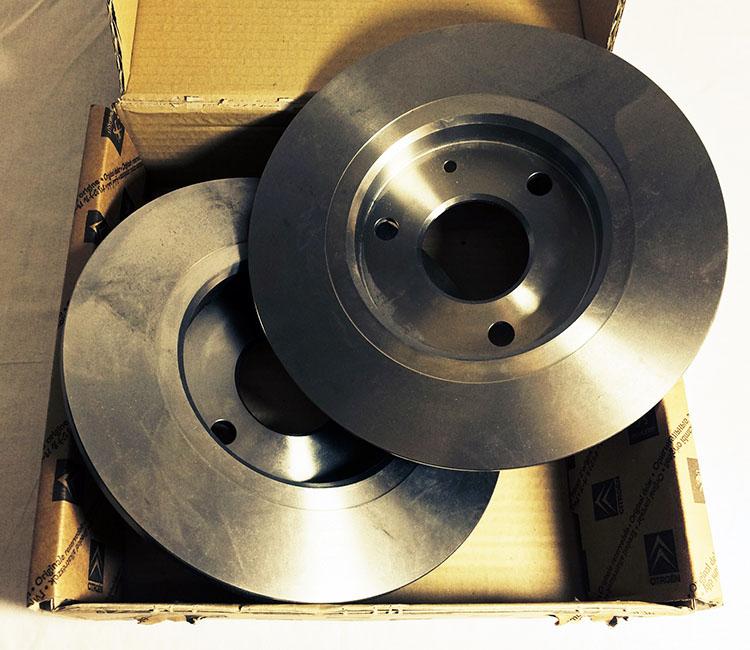 Peugeot 106 Front Brake Discs 238mm Non Vented 3-Stud 1.0 1.1 - Genuine Peugeot