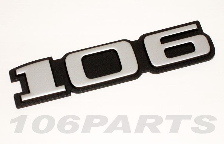 Peugeot 106 S1 91-96 '106' Rear Silver Body Badge - New Genuine Peugeot Part