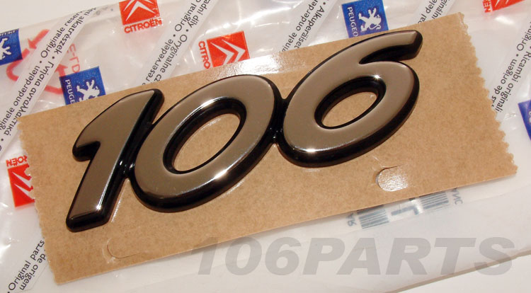 "Peugeot 106 Silver ""106"" S2 Body Badge 96-03 - New Genuine Peugeot Part"