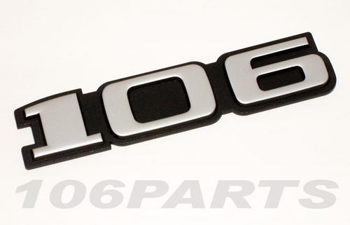 Peugeot 106 S1 91-96 '106' Rear Silver Body Badge - New Genuine Peugeot Part Thumbnail 1