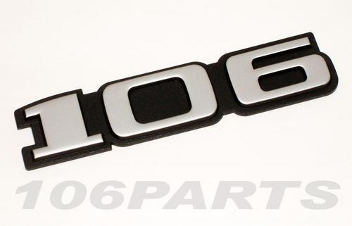 Peugeot 106 S1 91-96 '106' Rear Silver Body Badge - New Genuine Peugeot Part Thumbnail 1