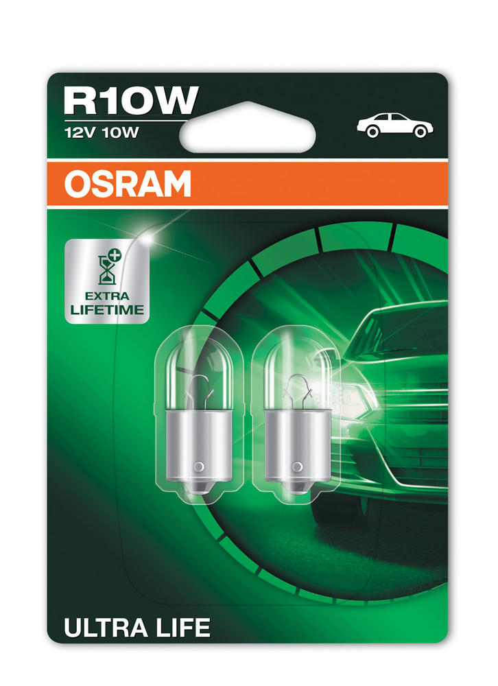 Osram R10W (245) 10W Ultra Life Brake Light Bulbs BA15s 5008ULT-02B Twin Pack