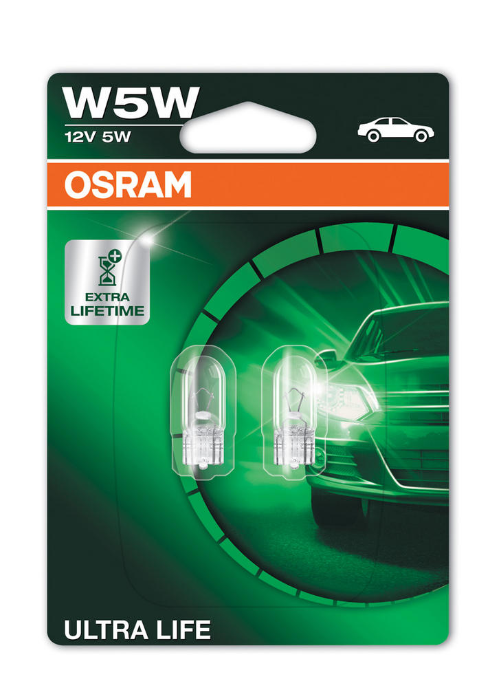 Osram W5W (501) Ultra Life Sidelight Wedge Bulbs W2.1x9.5d 2825ULT-02B Twin Pack