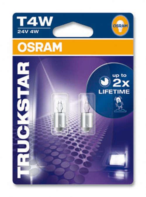 Osram T4W 24V 4W TRUCKSTAR Sidelight Bulbs for Commercial Vehicles 3930LTS-02B