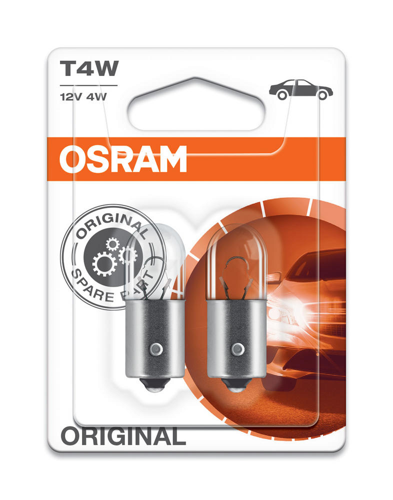 Osram T4W 12V (233) 4W Original Standard Sidelight Bulbs BA9s 3893-02B