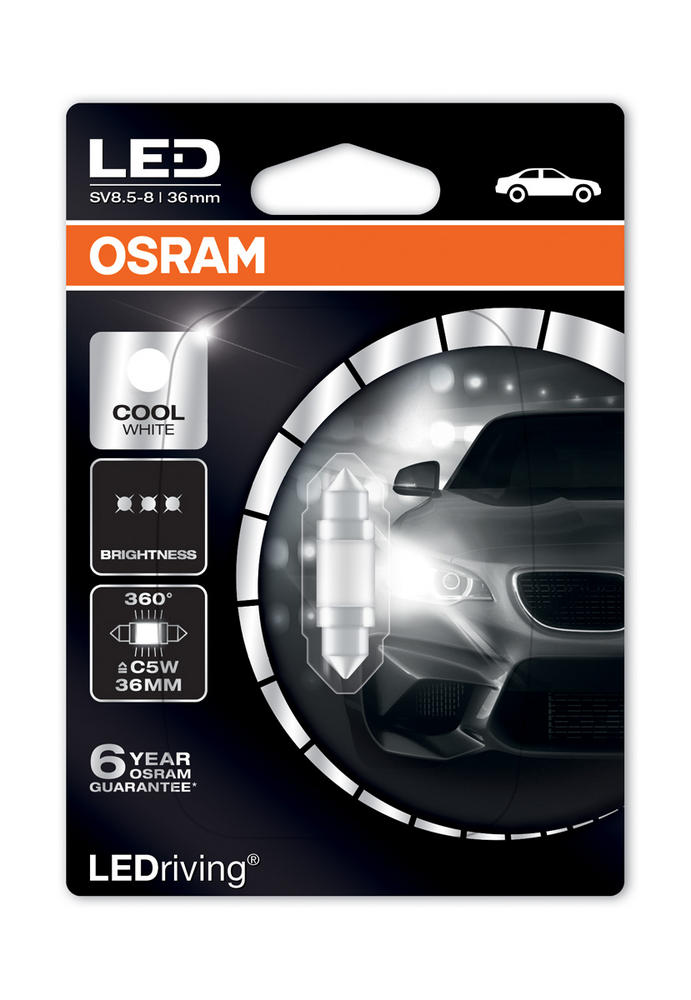 Osram LED 6000K Cool White C5W 239 36mm 1W Led Festoon Interior Bulb 6498CW-01B