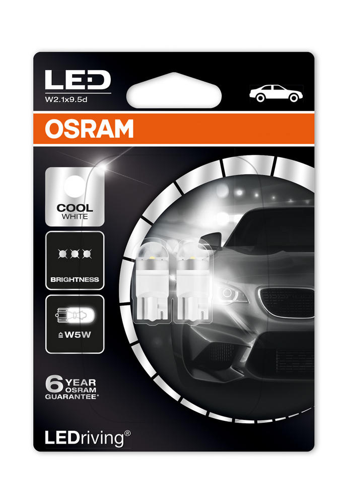 Osram LED 6000K Cool White W5W (501) Wedge 12V 1W Led Bulbs Long Life 2850CW-02B