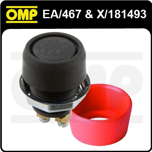 EA/467 OMP RACING WATERPROOF PUSH BUTTON FOR FIRE EXTINGUISHER & RED COVER