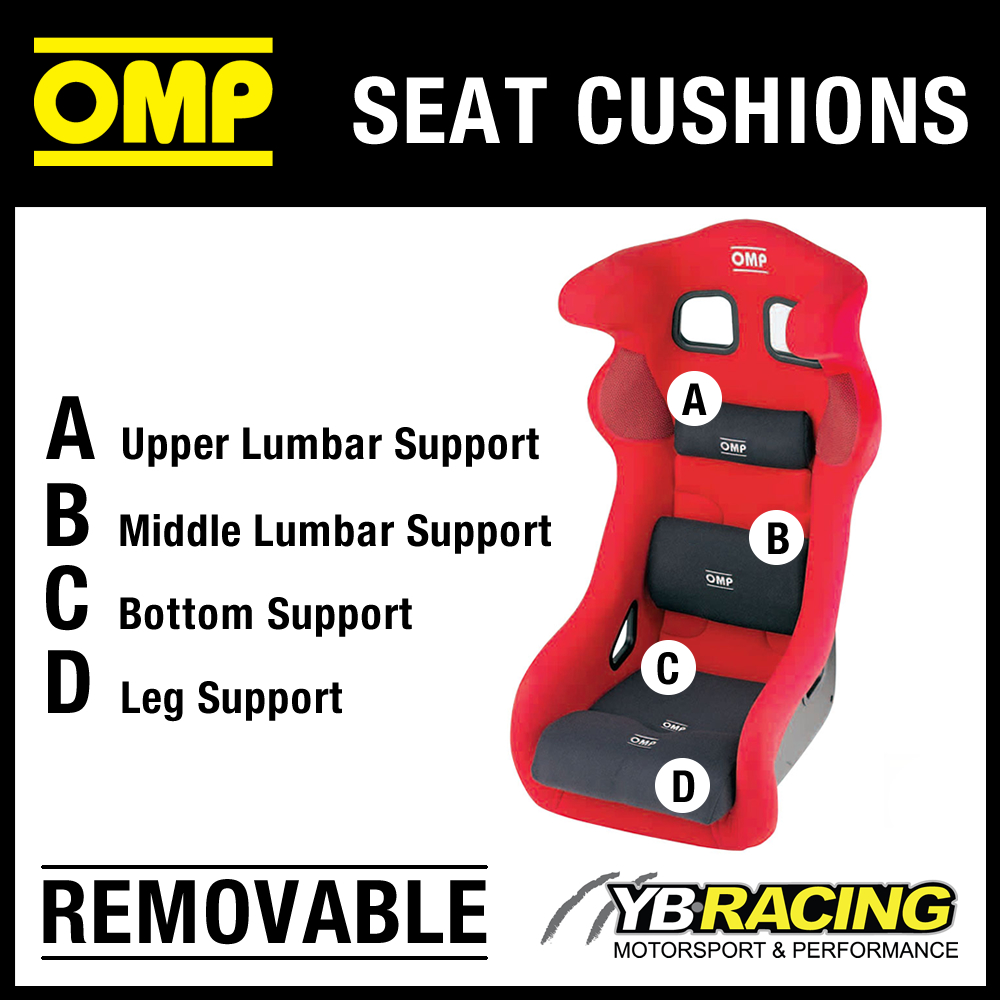 OMP RACE SEAT REMOVABLE VELOUR CUSHIONS FULL SET OF BLUE - 4 CUSHIONS INCLUDED!