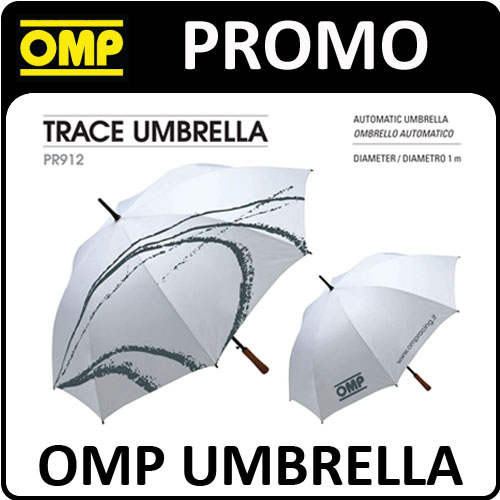 PR912 OMP RACING UMBRELLA SILVER/GREY 1m DIAMETER - IDEAL FOR MOTORSPORT EVENTS!