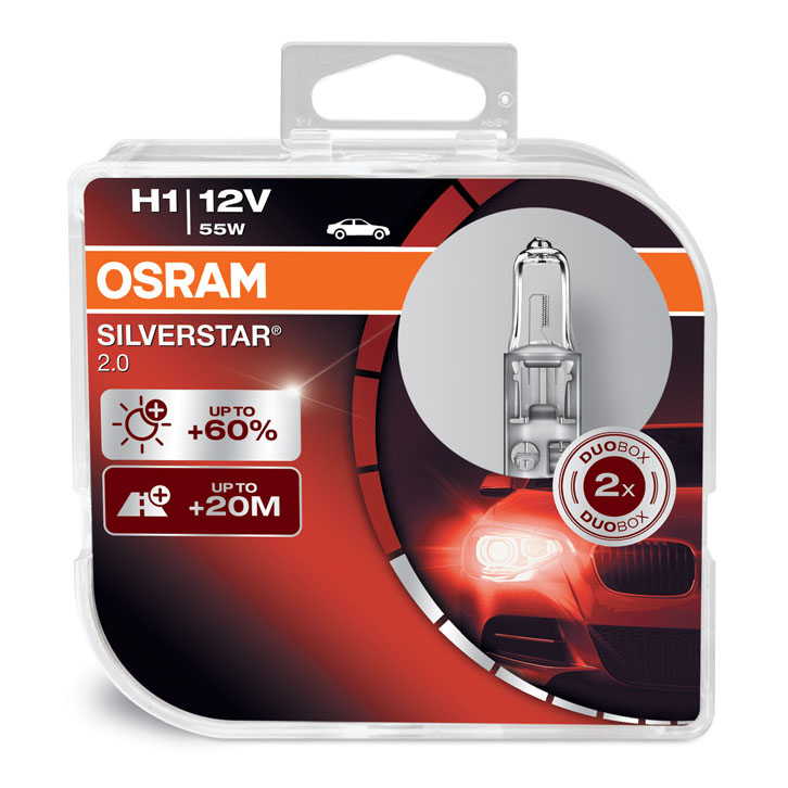 Osram H1 (448) Silverstar 2.0 Upgrade Headlight Bulbs 12V 55W 64150SV2-HCB
