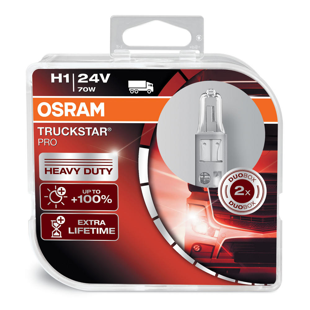 Osram TRUCKSTAR PRO H1 24v 70w Headlight Bulbs HEAVY DUTY 64155TSP Twin Pack
