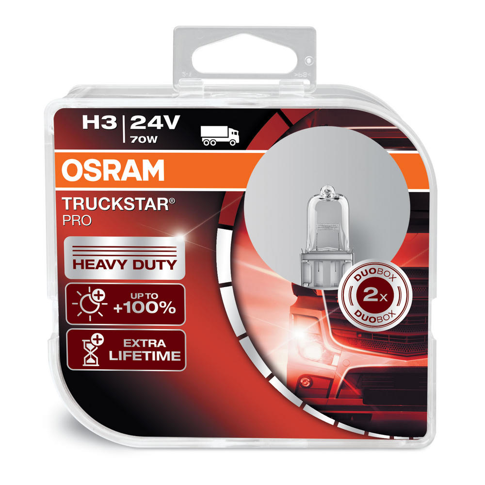 Osram TRUCKSTAR PRO H3 24v 70w Headlight Bulbs HEAVY DUTY 64156TSP Twin Pack