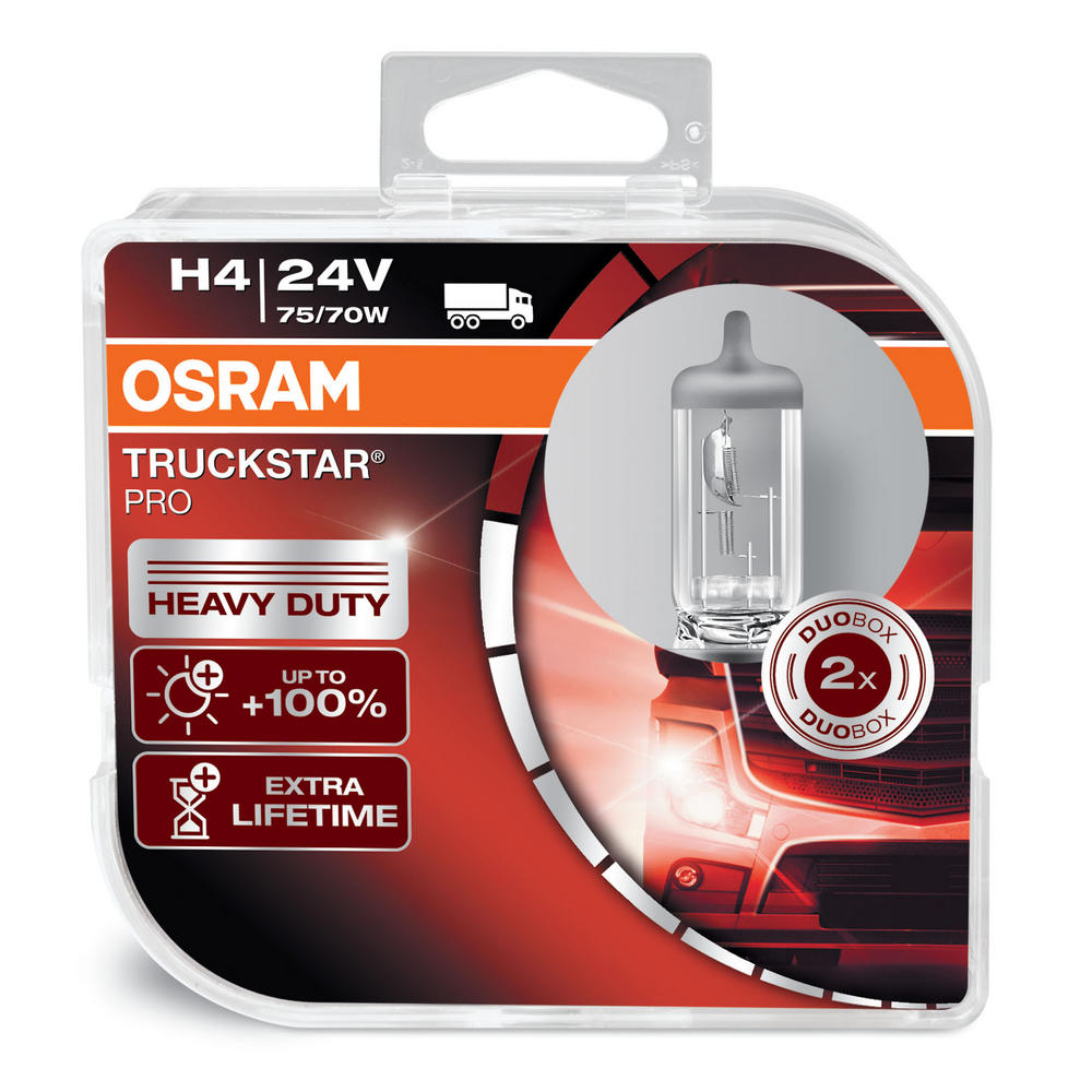 Osram TRUCKSTAR PRO H4 24v 75/70w Headlight Bulbs HEAVY DUTY 64196TSP Twin Pack