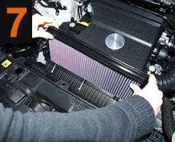Carefully install the K&N filter into theair box