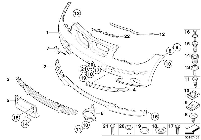 bmw genuine front middle lower bumper grille panel trim
