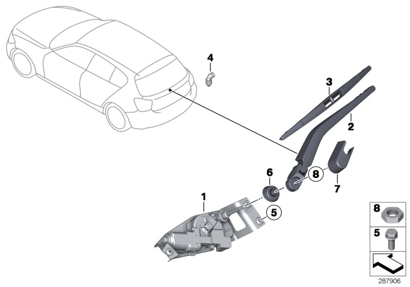 bmw genuine rear window wiper blade f20 1 series