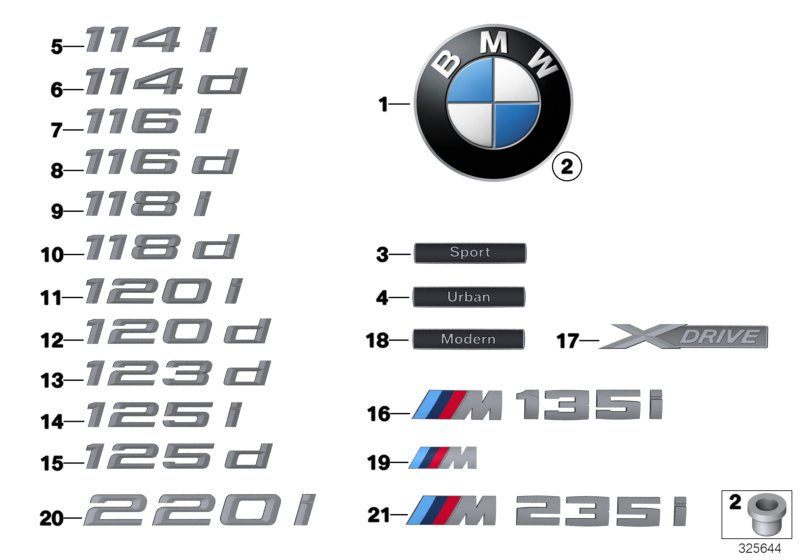 Genuine Bmw Emblem Badge Logo M 1 2 3 4 5 6 7 Series X1 X3