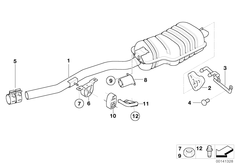 bmw genuine exhaust system vibration absorber bushing e46