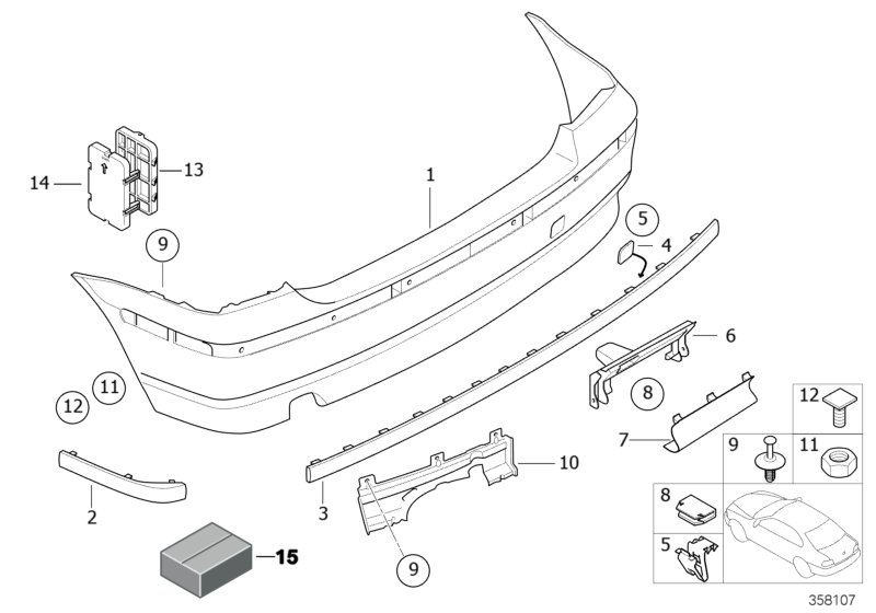 bmw genuine protective strip mold right rear bumper e46