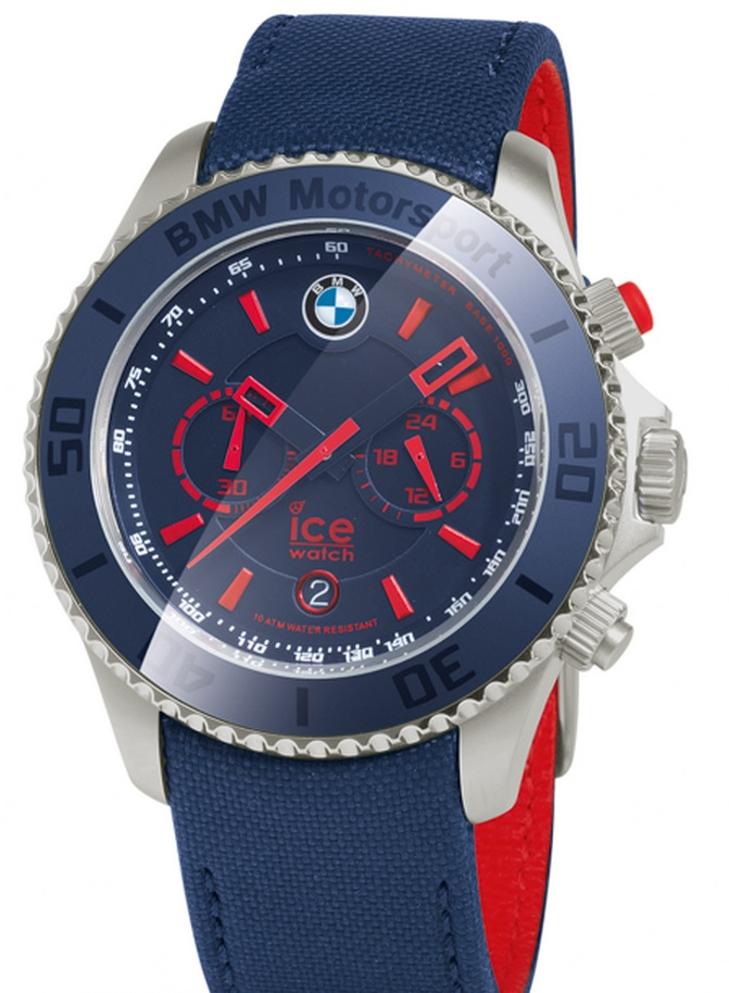 f0cbc692b8187 Details about BMW Genuine Motorsport Steel Chrono ICE Watch Leather Strap  Waterproof