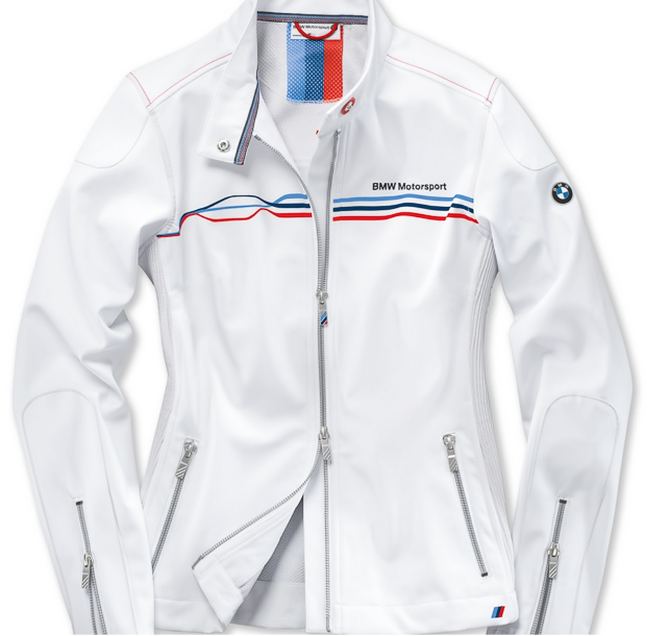 b3f155c35b Details about BMW Genuine Motorsport Ladies Womens White Soft Shell Jacket  Water Repellent