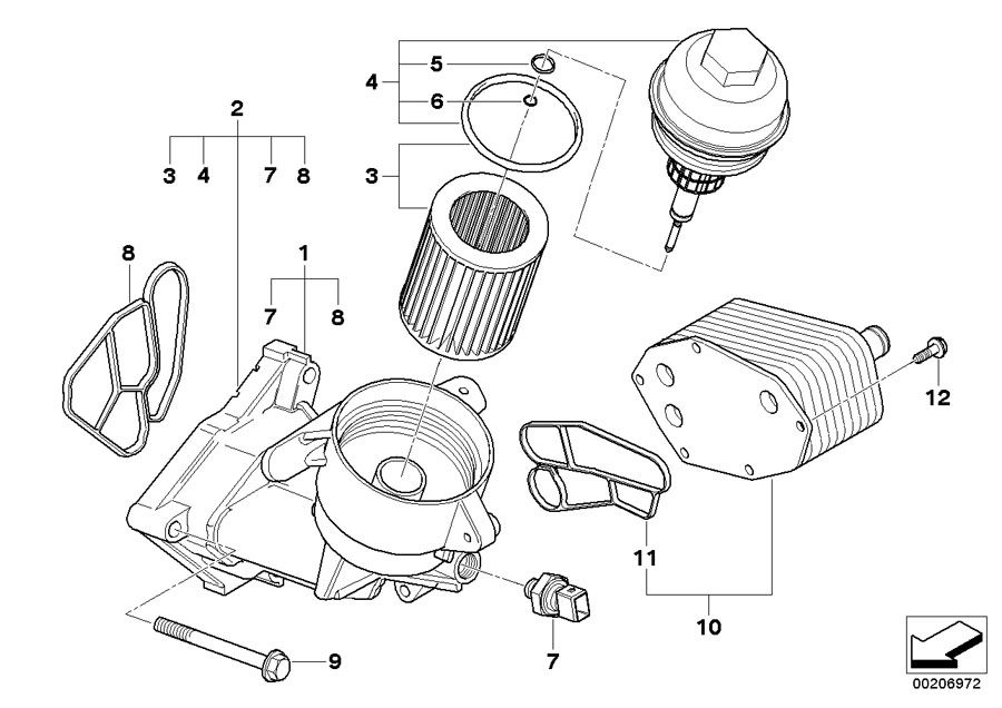 Bmw Genuine Oil Filter Cover E46 U0026gt E93 3  5  6  7 Series  X3