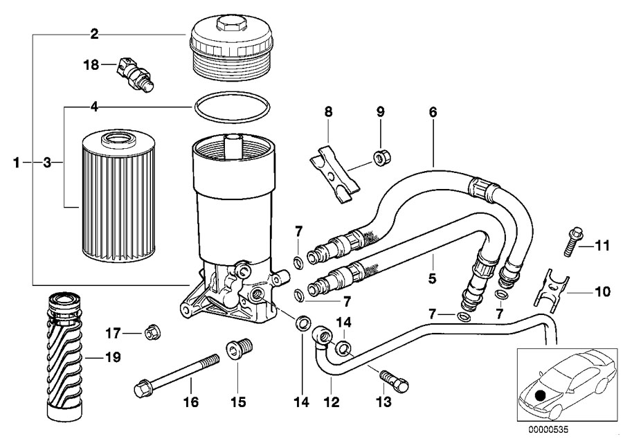 bmw genuine oil filter cover e38  e39  e52  e53 5  7 series