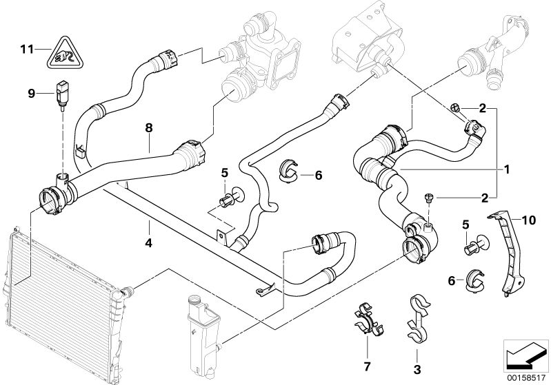 Bmw Genuine Expansion Tank Radiator Coolant Water Pipe Hose E46