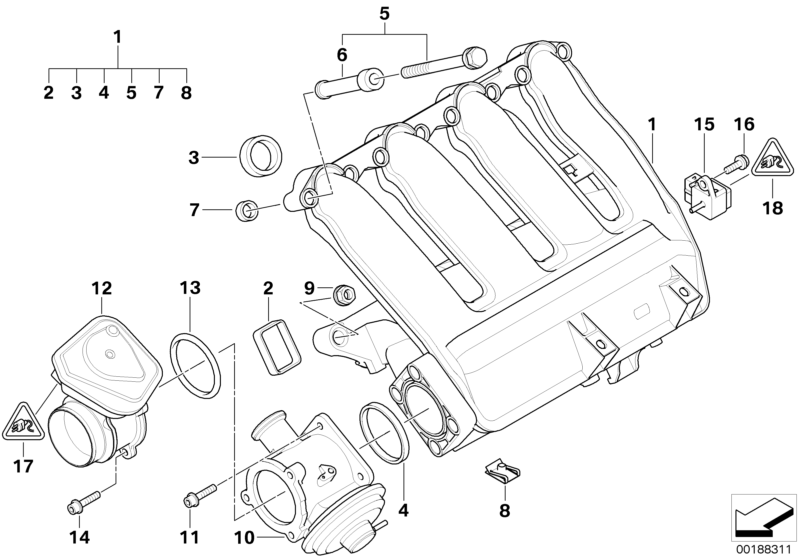 Bmw Genuine 6x Engine Inlet Intake Manifold Agr Profile Gasket Set