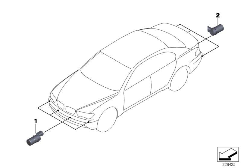 BMW Genuine Pdc Ultrasonic Parking Sensor Monaco Blue E65 E66 66206989221: BMW M5 Rear Sensors Wiring Diagram At Hrqsolutions.co
