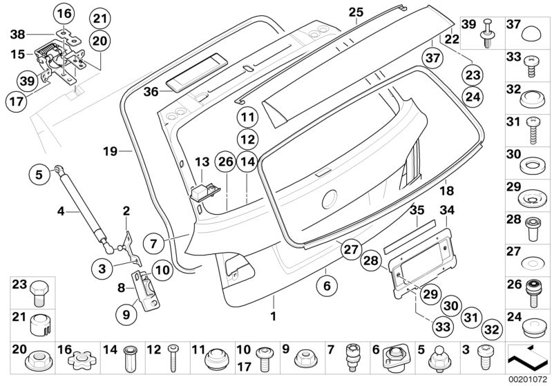bmw genuine trunk lid gas pressurized spring for 5 series