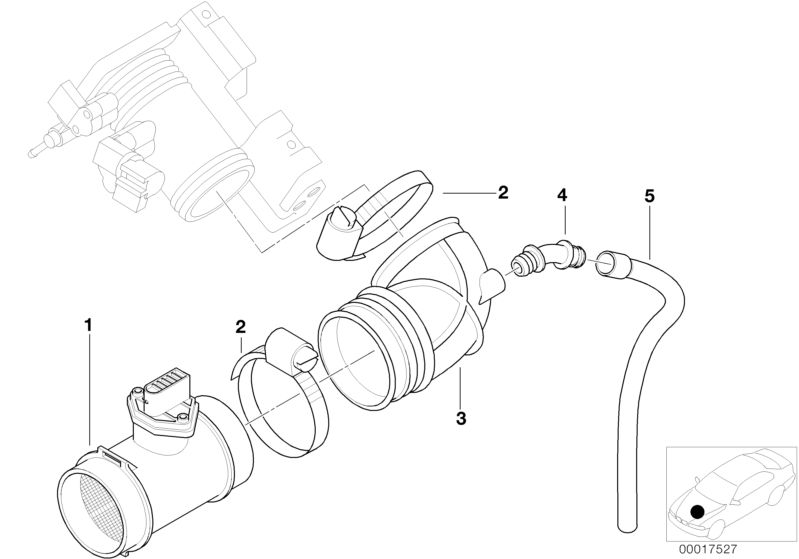 Bmw Genuine Air Flow Sensorfuel Injection Hose For 3 Series E46