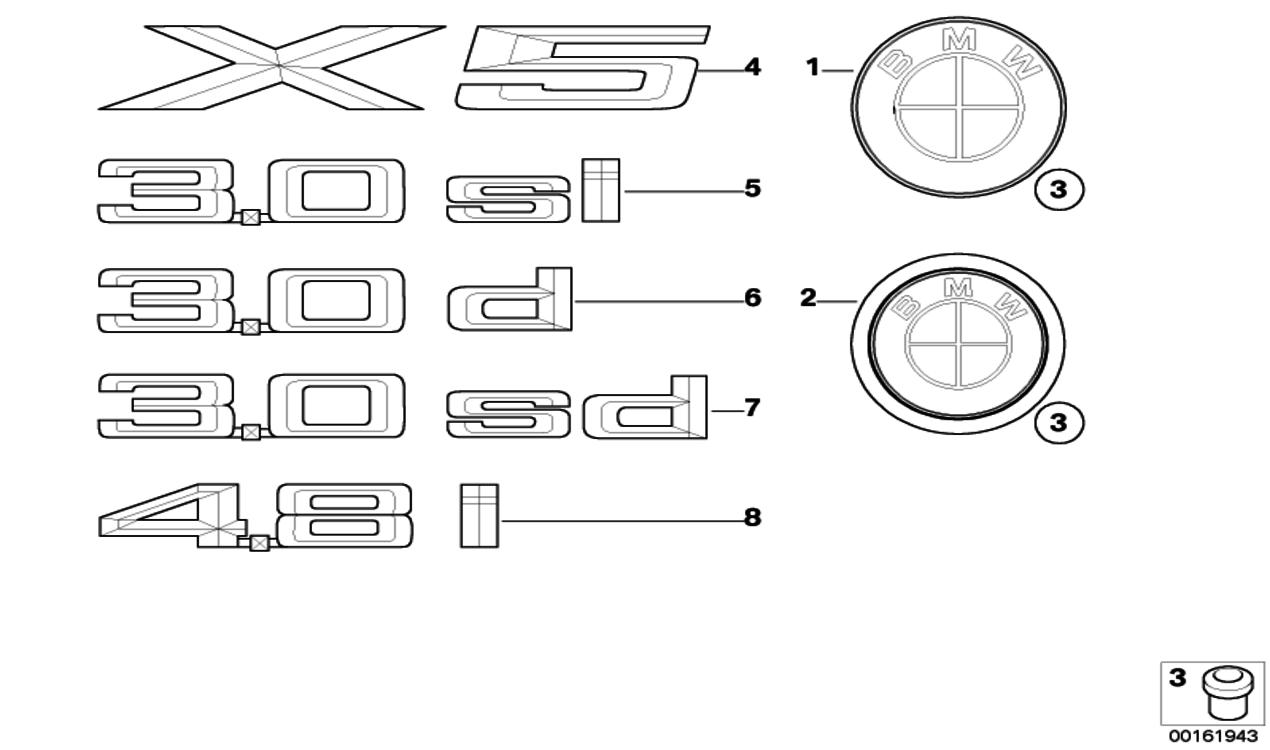 BMW Genuine Logo Roundel Rear Boot//Trunk Badge Emblem E70 X5 51147157696
