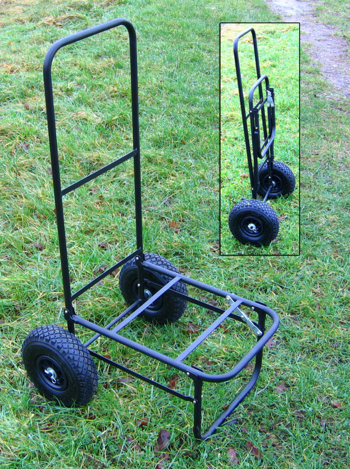 BISON FOLDING FISHING SEAT BOX TROLLEY WITH PNUEMATIC TYRES