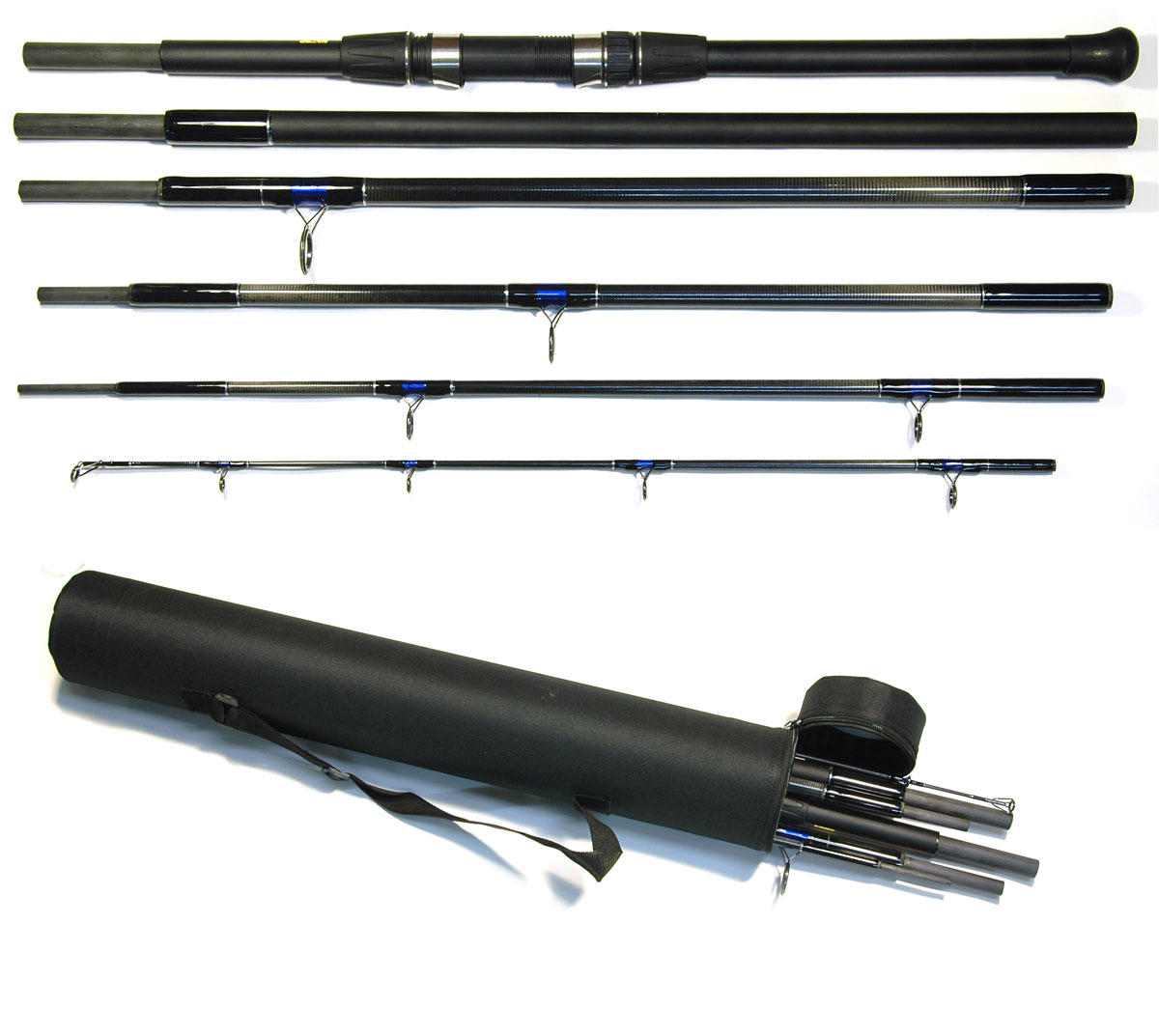 Bison 6 section travel beach casting surf or bass fishing for Fishing rod travel tubes