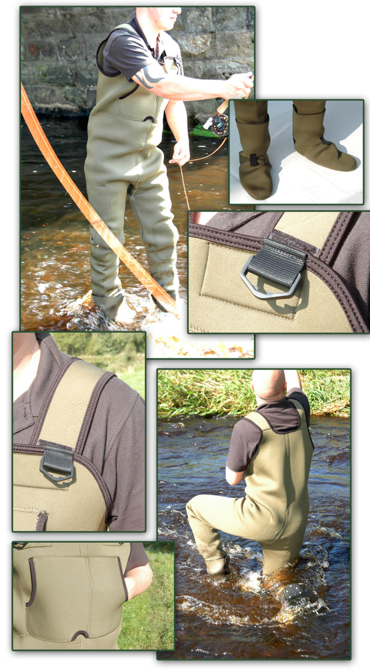 FISHINGMAD 4MM NEOPRENE STOCKING FOOT CHEST WADERS ALL SIZES