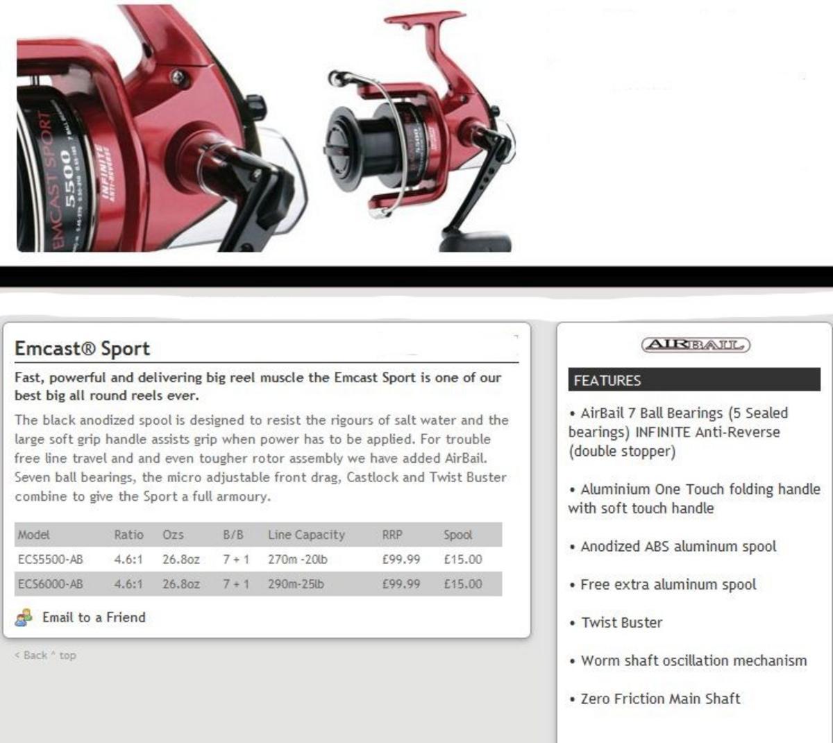 DAIWA EMCAST SPORT 5500 AIRBAIL Model No ECS5500-AB FISHING REEL