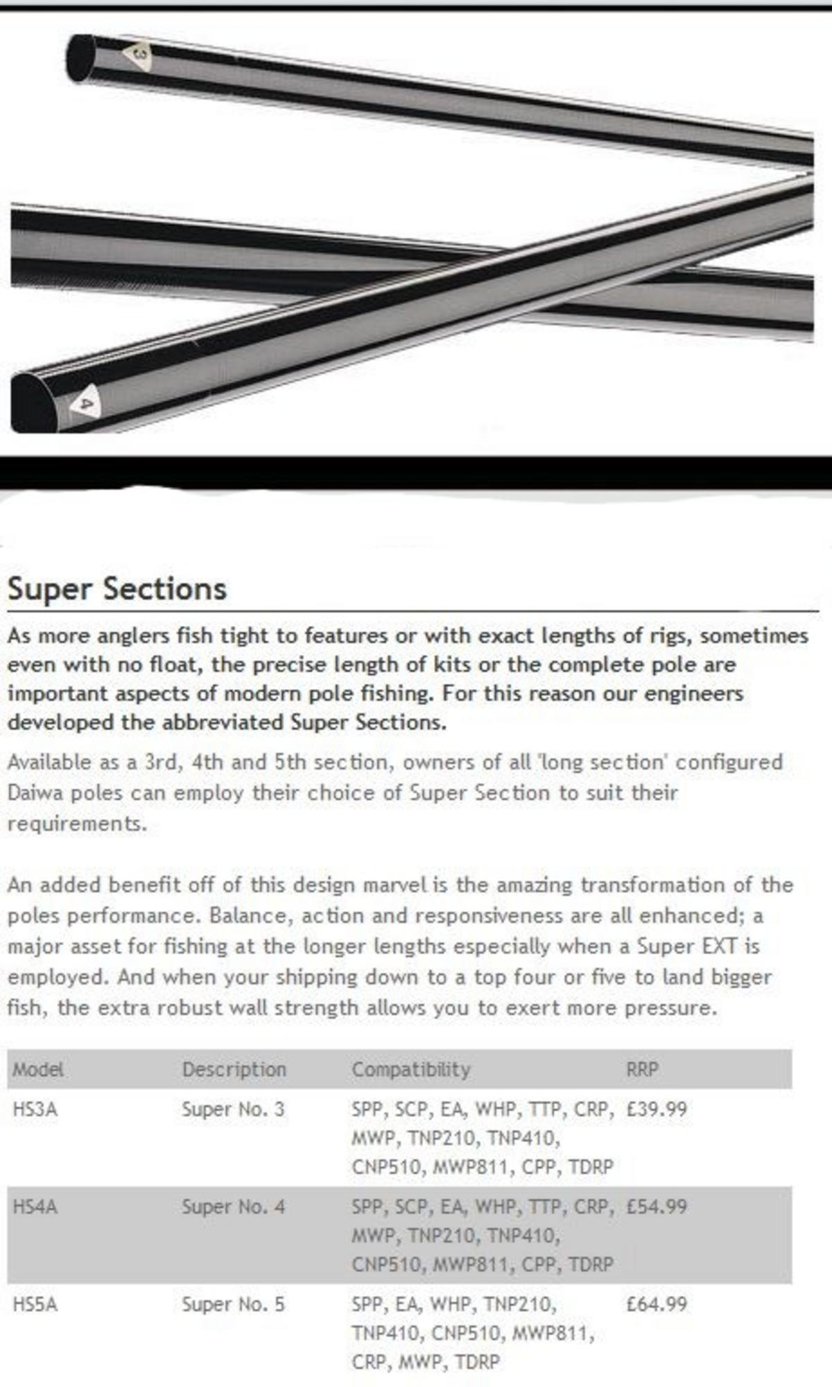 DAIWA SUPER EXTENSION 1.6MT Model No SPEX177 POLE KIT
