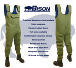 BISON OLIVE GREEN 5MM NEOPRENE CHEST WADERS