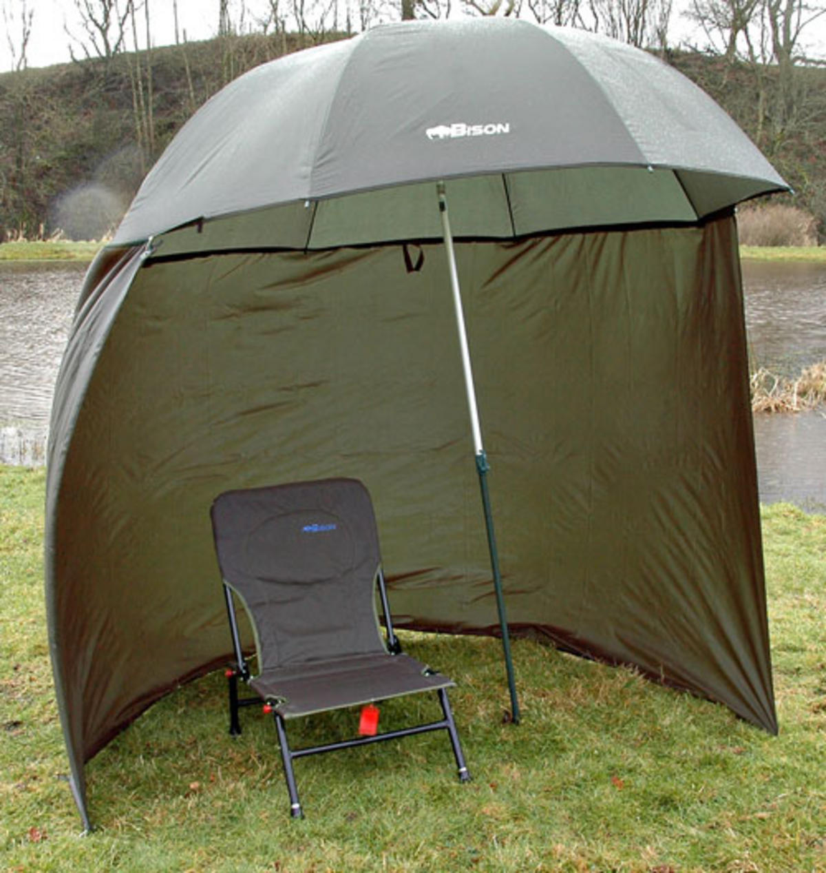 "88"" 2 2m BISON TOP TILT FISHING UMBRELLA BROLLY SHELTER WITH ZIP ON SIDES"