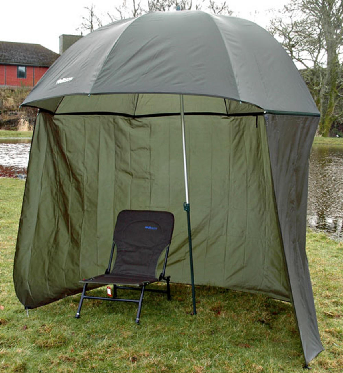 "98"" 2.5m  BISON TOP TILT UMBRELLA BROLLY FISHING SHELTER WITH ZIP ON SIDES"