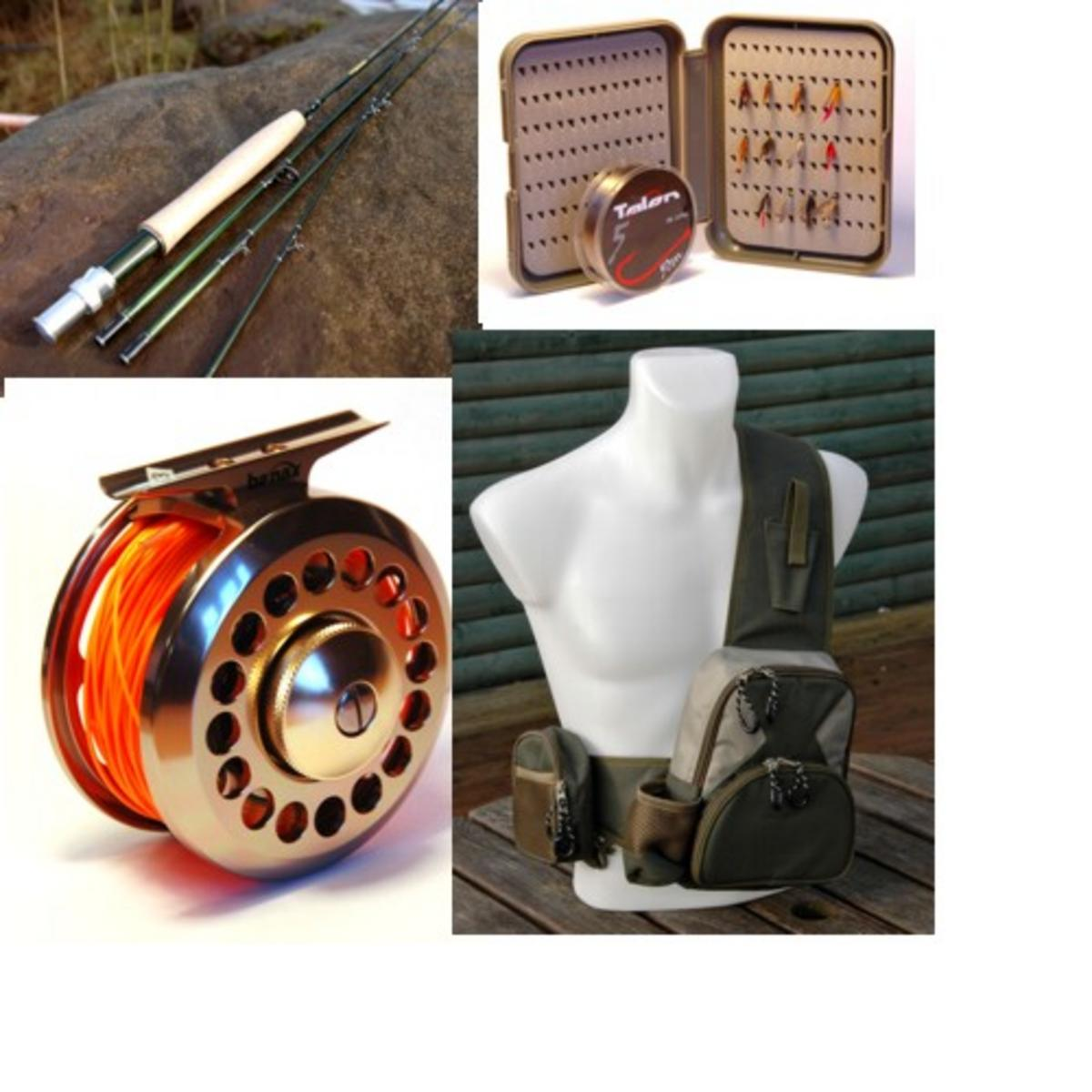 RIVER STREAM FLY FISHING KIT 4 SECTION 8' FLY ROD, REEL LINE CHEST PACK & WADERS