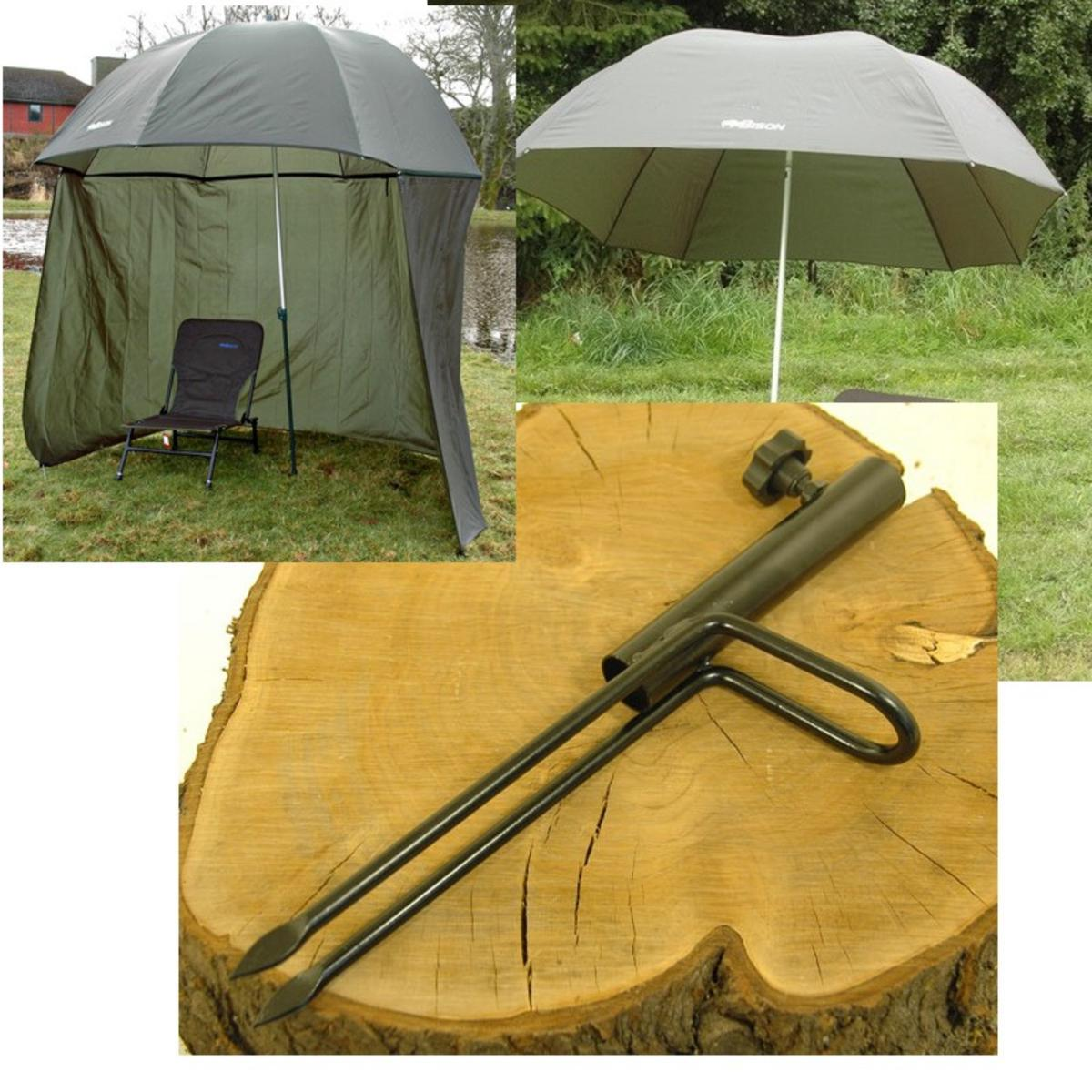 BISON TOP TILT UMBRELLA BROLLY SHELTER COMPLETE WITH FREE BROLLY SPIKE