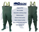 BISON HEAVY DUTY PVC / NYLON CHEST WADERS SIZES 7 8 9 10 11 0R 12