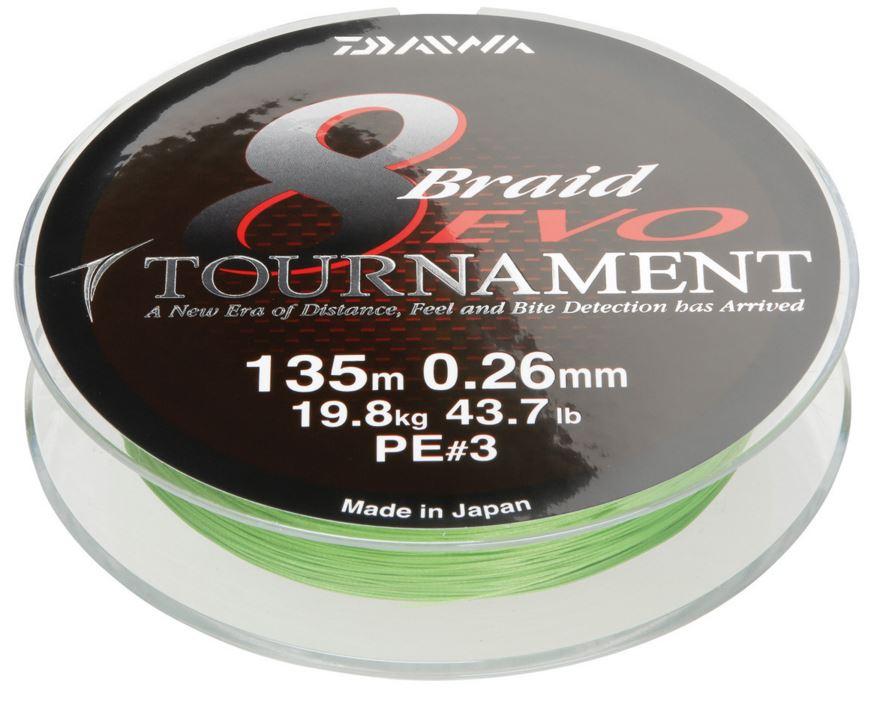 Nouveau-daiwa-tournament-EVO-8-tresse-135m-spool-toutes-les-couleurs-et-les-souches-de-rupture